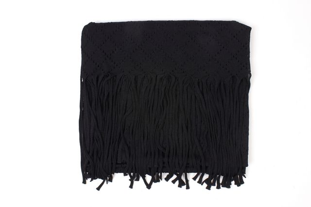 DIOR Black Argyle Diamond Fringe Knit Scarf