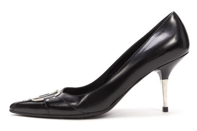 DIOR Black Leather Silver CD Pointed Toe Mules Heels