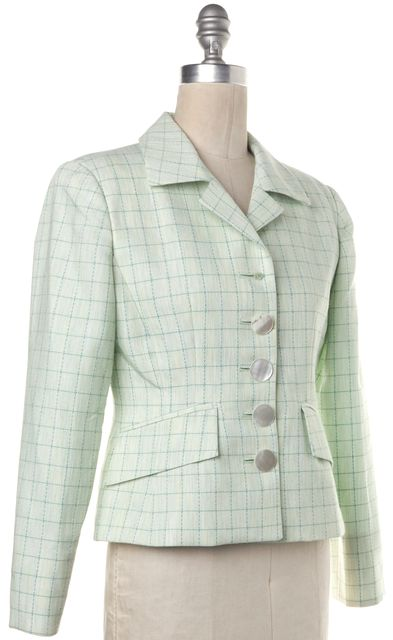DIOR Green Check-Pattern Button Front Flap Pocket Blazer Casual Jacket