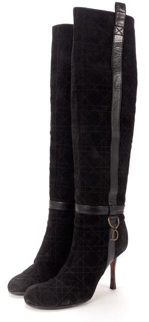 DIOR Black Quilted Suede Knee-High Boots