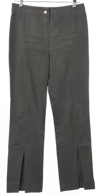 DIOR Gray Cotton Front Leg Slit Trouser Dress Pants