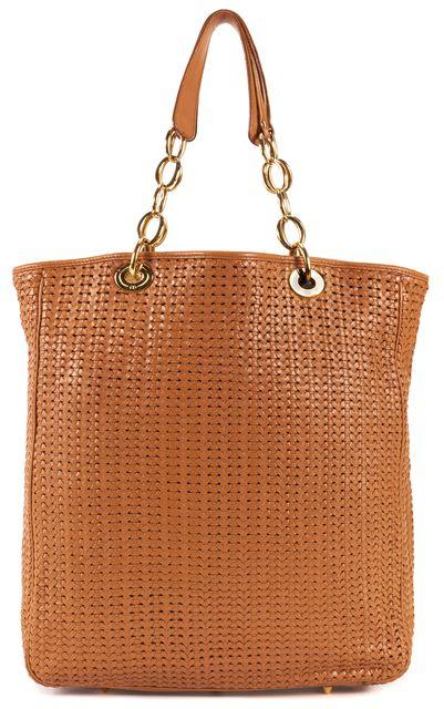 DIOR Saddle Brown Woven Leather Tote Shoulder Bag