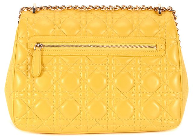 DIOR Yellow 'Miss Dior' Large Lambskin Long Chain Shoulder Bag