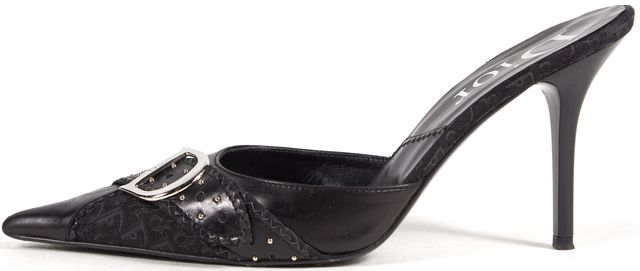 DIOR Black Leather Monogram Canvas Studded Point-Toe Slip-On Mule Heels