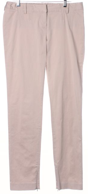 DIOR Light Beige Stretch Cotton Skinny Leg Ankle Zip Khakis Pants