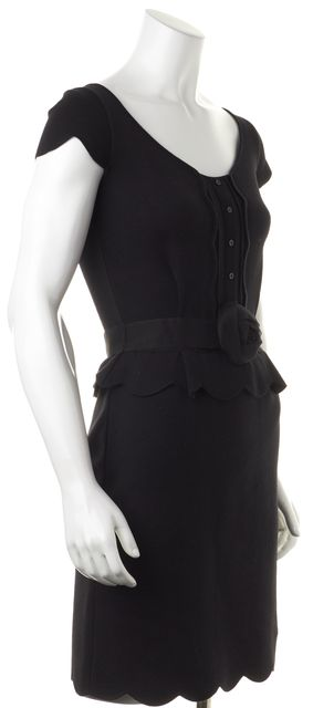 DIOR Black Wool Belted Sheath Scalloped Knit Dress