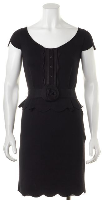 DIOR Black Wool Floral Belted Scalloped Hem Knit Peplum Sheath Dress