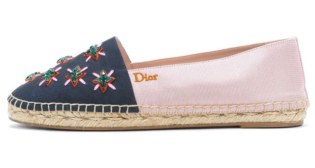 DIOR Pink Navy Satin Star Crystal Embellished Espadrille Flats