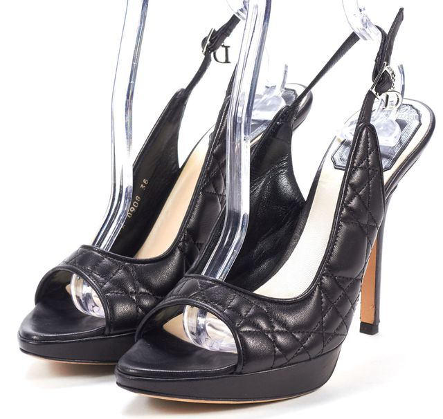 DIOR Black Leather Cannage Open Toe Sling Back Pumps