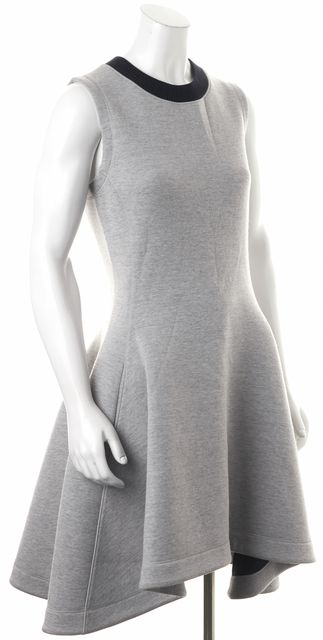 DIOR Gray Navy Blue Wool Pocket Front Sleeveless Fit & Flare Dress