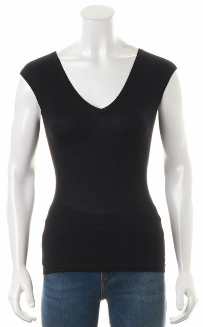 DIOR Black Cashmere V-Neck Sleeveless Slim Fit Knit Top