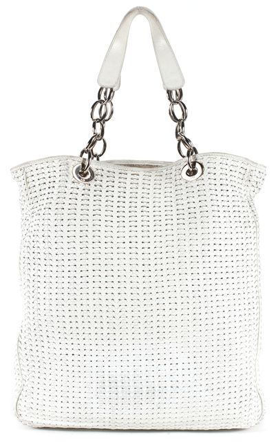 DIOR Gray Woven Leather Silver Hardware Shoulder Bag
