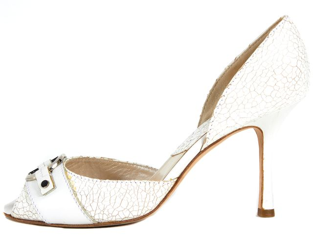DIOR White Cracked Leather Silver CD Embellished Peep-Toe Heels