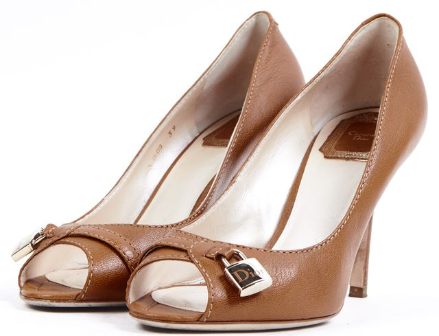 DIOR Tan Brown Pebbled Leather Peep Toe Pump Heels