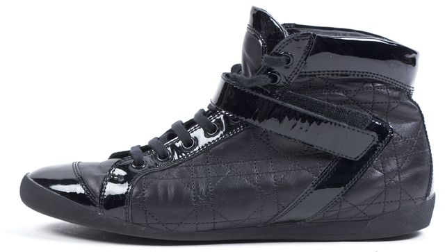 DIOR Black Leather Cannage Sprint Sport High Top Sneakers