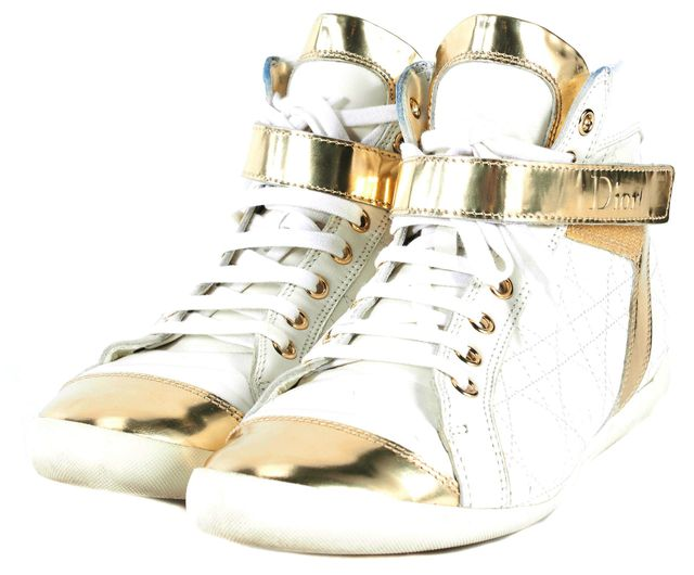 DIOR White Quilted Leather Sneakers