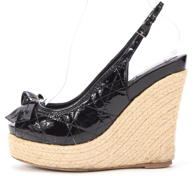 DIOR Black Patent Quilted Leather Espadrille Sandal Wedges