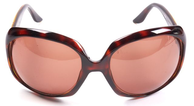 DIOR Brown Tortoise Shell Acetate Glossy Round Oversized Sunglasses