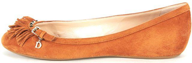 DIOR Brown Gold Suede Fringe Studded Slip-on Flats