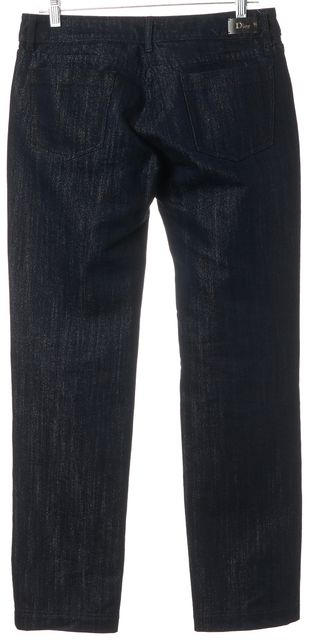 DIOR Blue Silver Five Pocket Mid-Rise Straight Leg Jeans