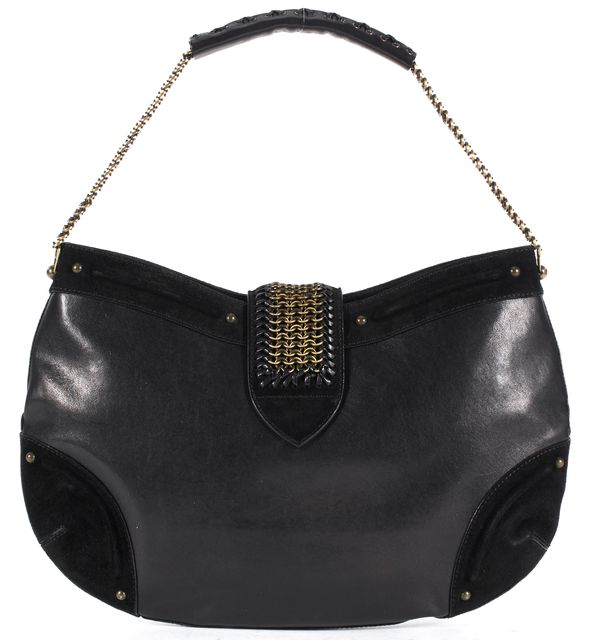 DIOR Black Leather Suede Chain Mail Brushed Gold Shoulder Bag