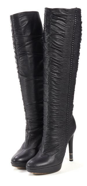 DIOR Black Ruched Leather Knee-High Platform Boots