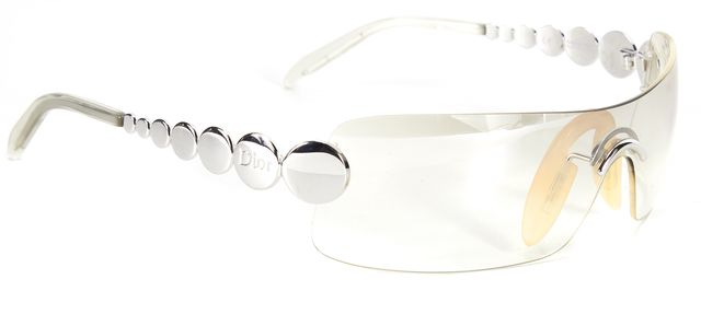 DIOR Silver Clear Metal Arm Ruthenium Shield Sunglasses