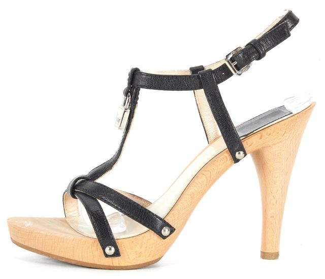 DIOR Black Leather T-Strap Lock Hardware Ankle Strap Sandal Heels
