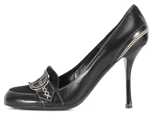 DIOR Black Leather Suede Front Contrast Stitching Pumps Heels