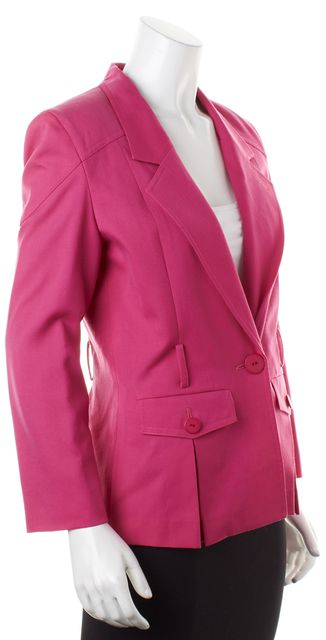DIOR Pink Wool One-Button Front Pockets Blazer Jacket