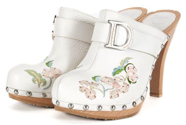 DIOR White Floral Embroidered Leather Platform Clog Heels