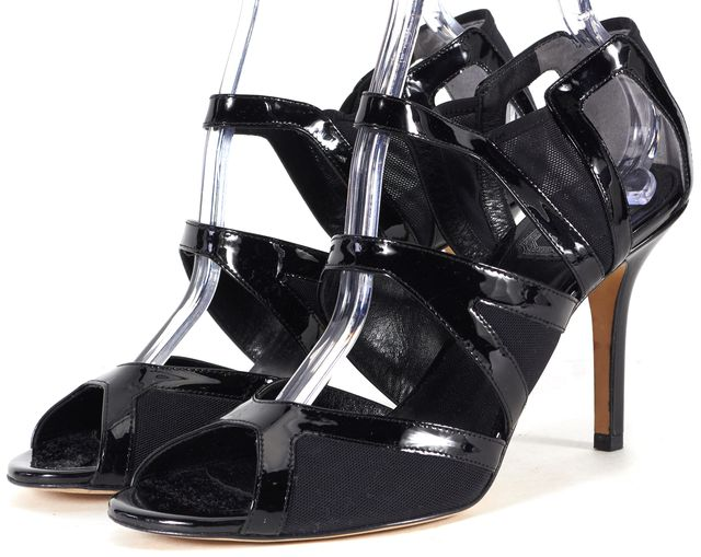 DIOR Black Patent Leather Mesh Cut-Out Sandals Heels