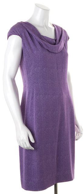DIOR Purple White Polka Dot Silk Draped Cowl Neck Sheath Dress