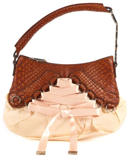 DIOR Rose Pink Brown Satin Snakeskin Trim Lace-Up Small Shoulder Bag