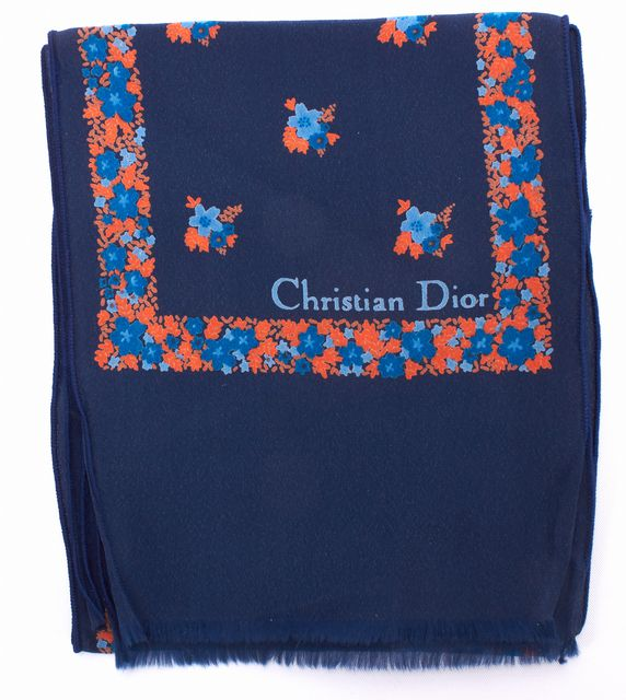 DIOR Navy Blue Multi-Color Floral Silk Long Scarf