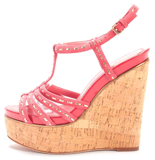 DIOR Coral Pink Suede T-Strap Antica Sandal Cork Wedges