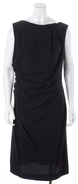 DIOR Black Pleated Neck Ruche Sleeveless Sheath Dress