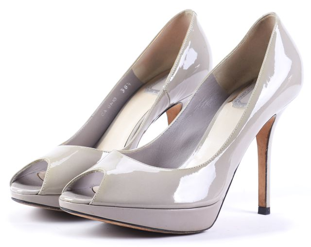 DIOR Gray Open Toe Leather Pump Heels