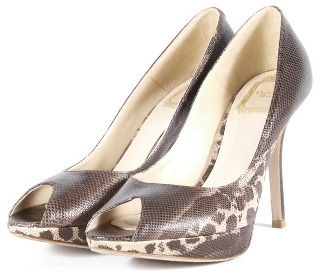 DIOR Brown Beige Snakeskin Animal Print Leather Peep Toe Heels Size 37.5 US 7.5