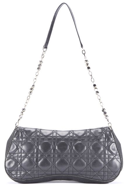 DIOR Black Cannage Quilted Leather Denim Chain Strap Shoulder Bag