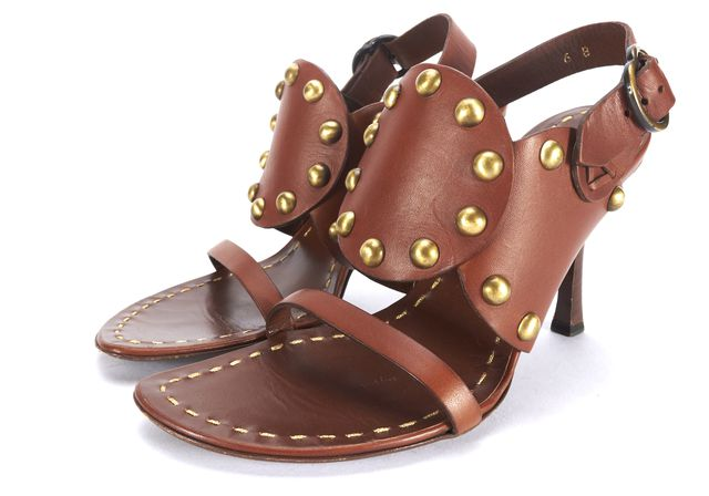 CÉLINE Brown Leather Studded Sandals