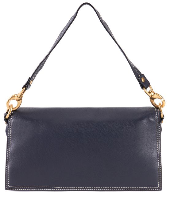 CÉLINE Navy Leather Double Pocket Buckle Removable Strap Clutch/Shoulder Bag