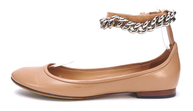 CÉLINE Beige Leather Chain Detail Rounded Toe Ballet Flats