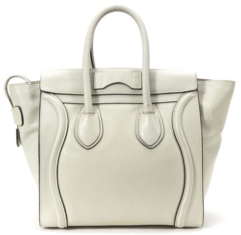 CÉLINE Gray Leather Micro Luggage Tote Handbag
