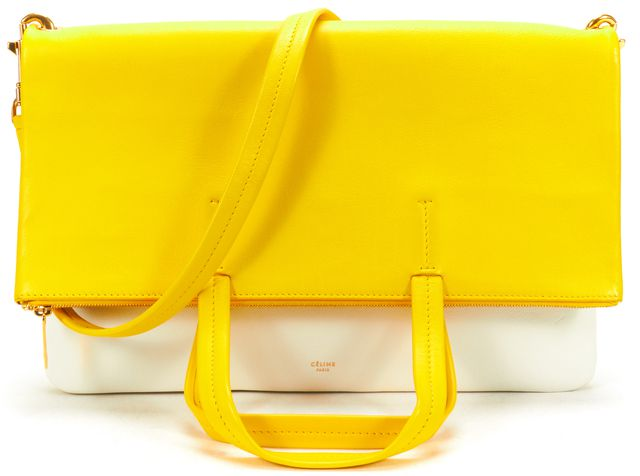 CÉLINE White Yellow Leather Hippo 3 Way Clutch Tote Bag