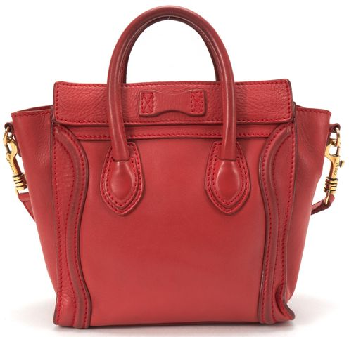 CELINE Authentic Red Leather Nano Luggage Tote Handbag