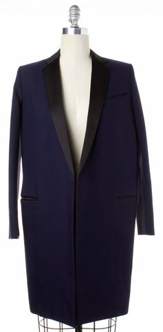 CELINE Navy Blue Black Long Lapel Wool Coat Size 2 FR 34