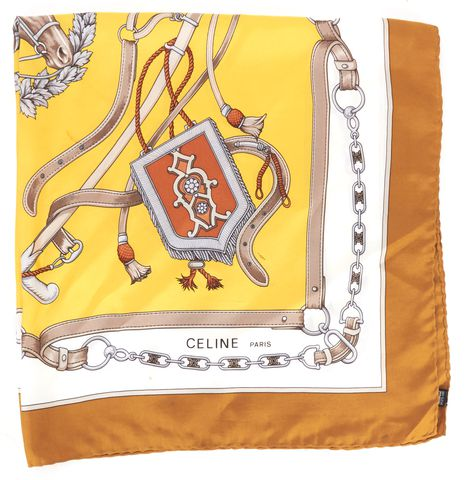 CÉLINE Yellow Beige Equestrian Graphic Silk Scarf