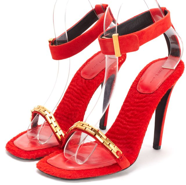 CÉLINE Red Suede Fur Insole Gold Chain Ankle Strap Heels