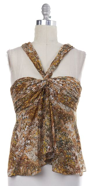CÉLINE Brown Multi-color Abstract Silk Sleeveless Halter Blouse